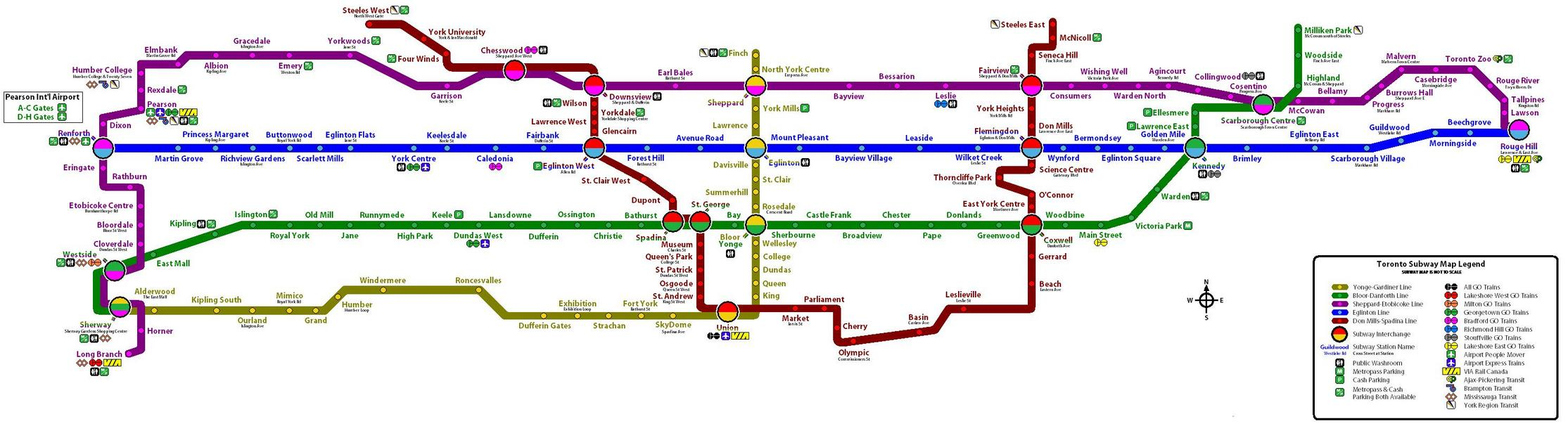 Toronto Bus And Subway Map.Ttc System Maps Transit Toronto Content