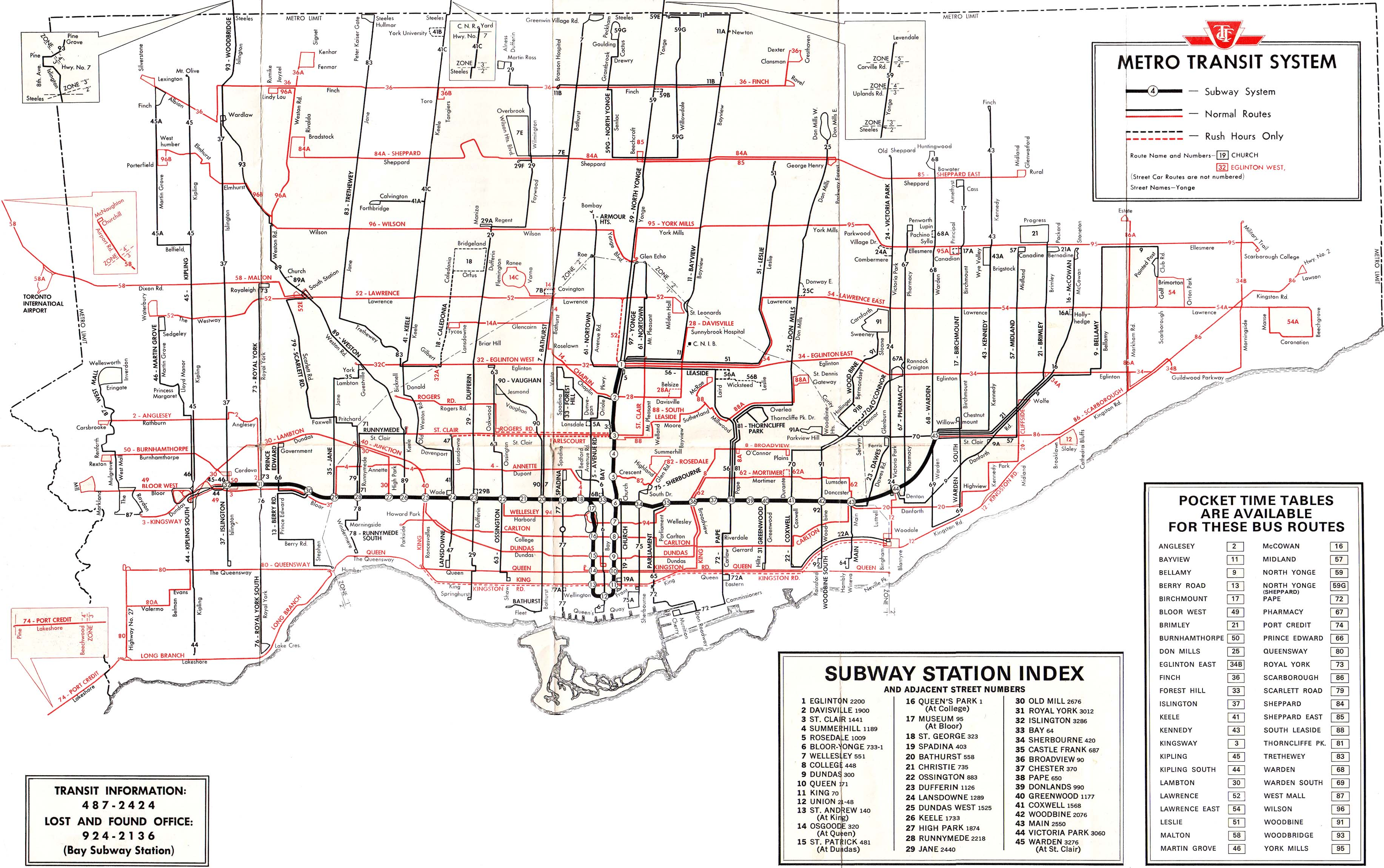 TTC System Maps Transit Toronto Content - Us time zone map pdf