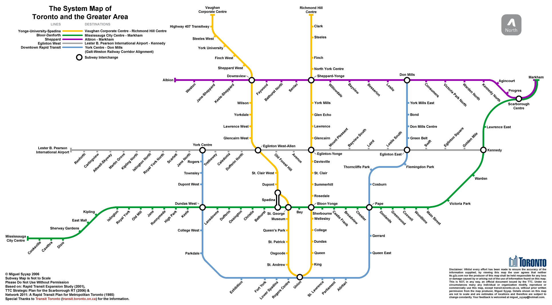 Toronto Transit Subway Map