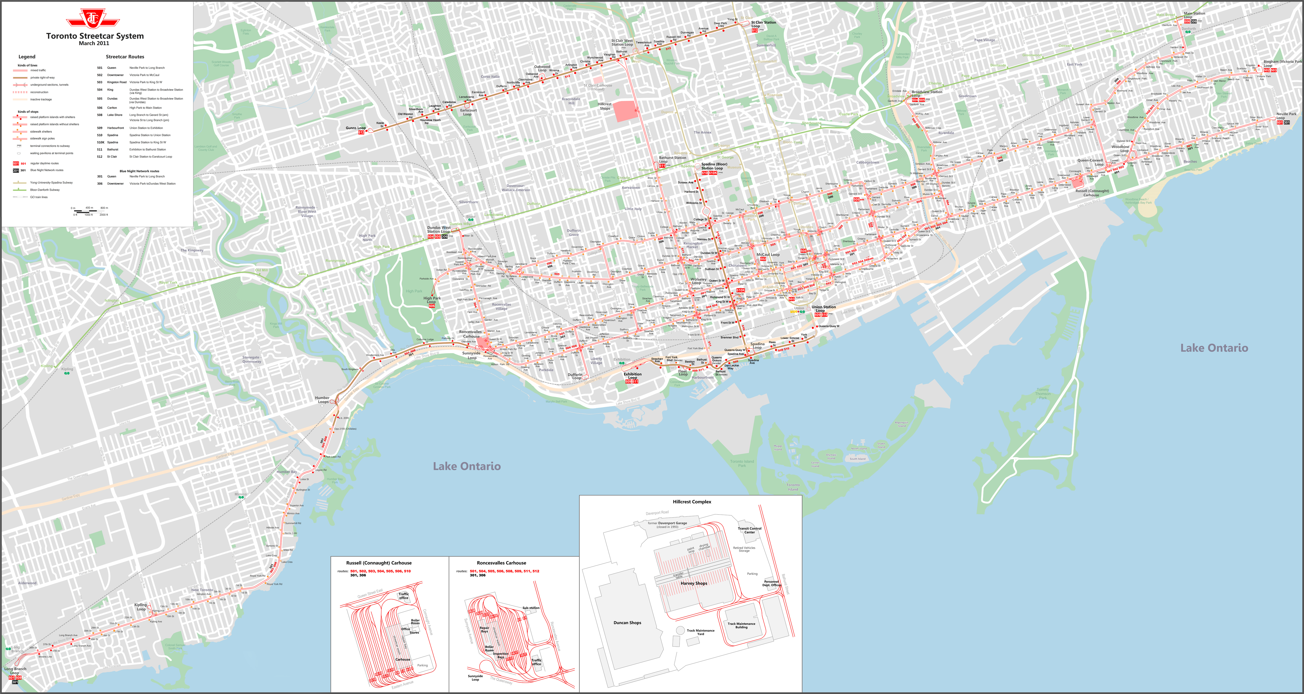 Ttc track diagrams transit toronto content streetcar track map march 2011 ccuart Choice Image
