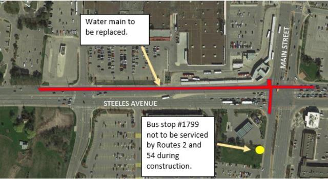 2019 - 04-26 - Steeles Avenue West water main construction affects bus stop.JPG