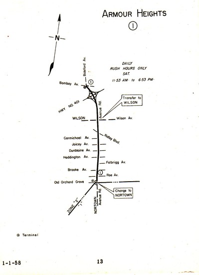 Armour Heights Map, 1958