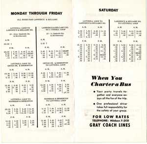 15 Brimley timetable, page 2, May 15, 1960