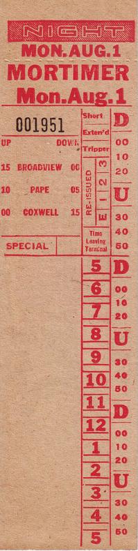 62 Mortimer 1954 1961 Transit Toronto Surface Route