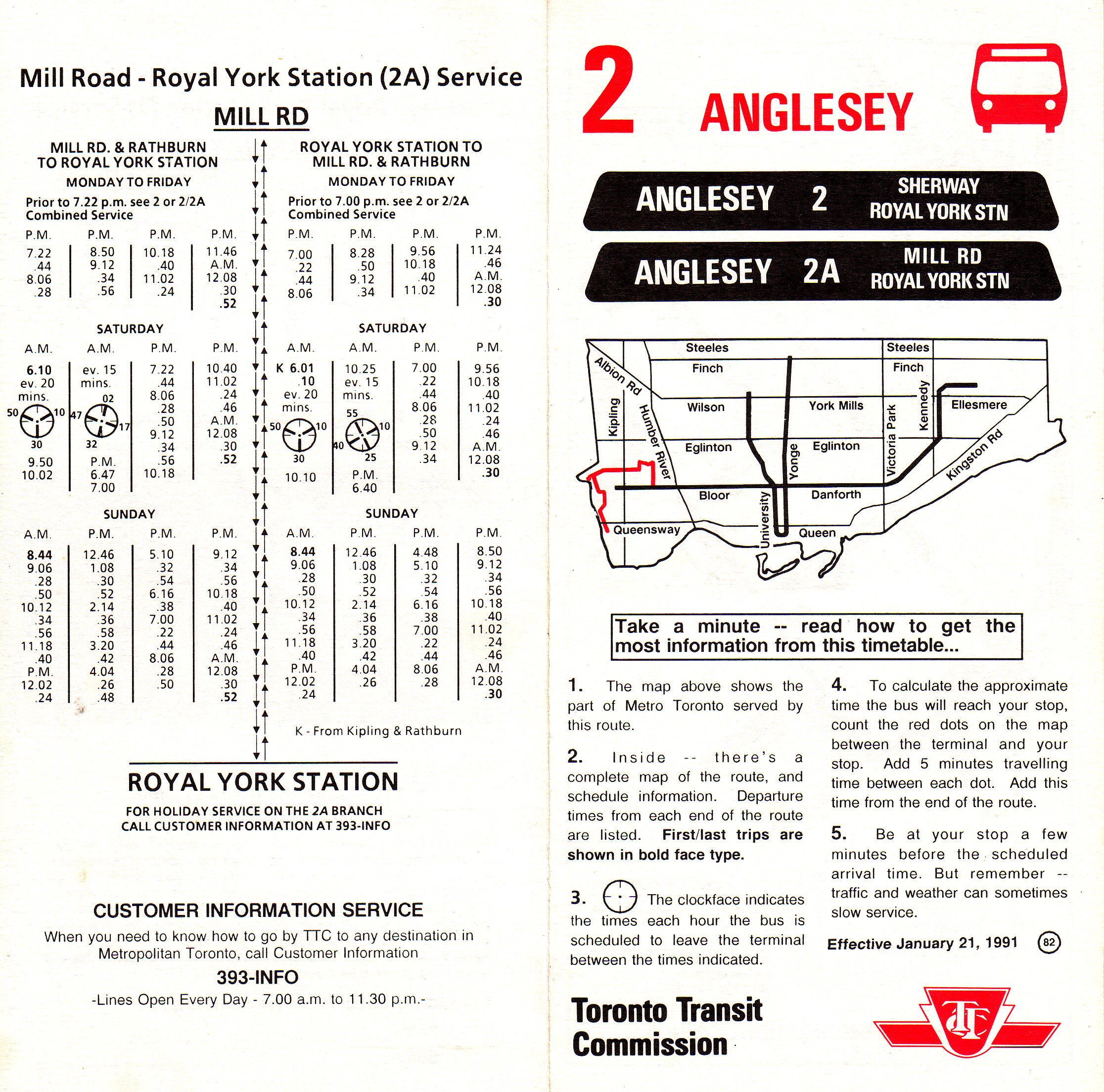 TTC Route 2 Anglesey Timetable Map 1991