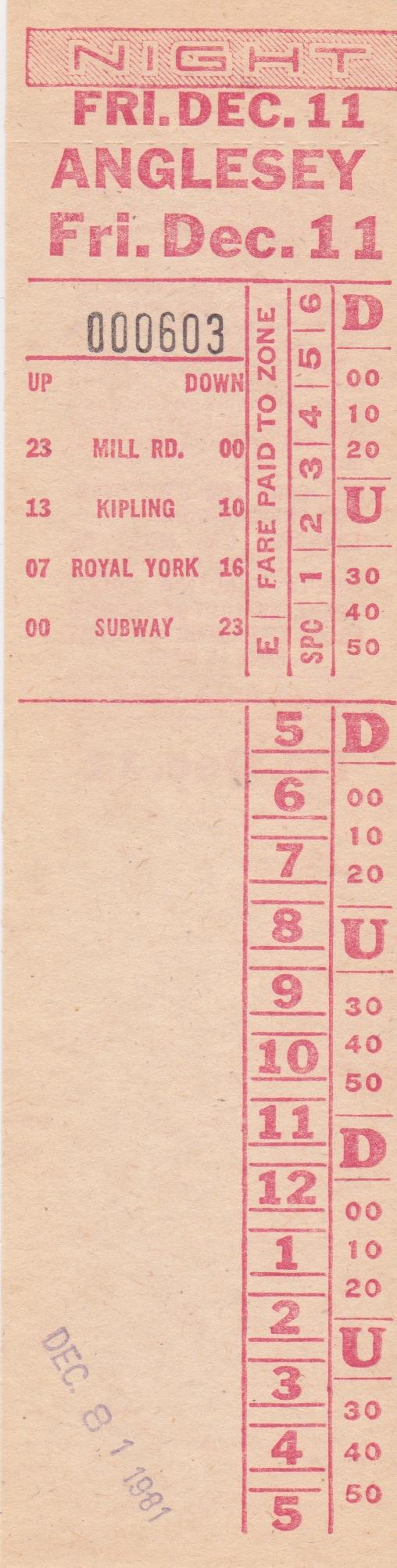 2 Anglesey 1952 2001 Transit Toronto Surface Route