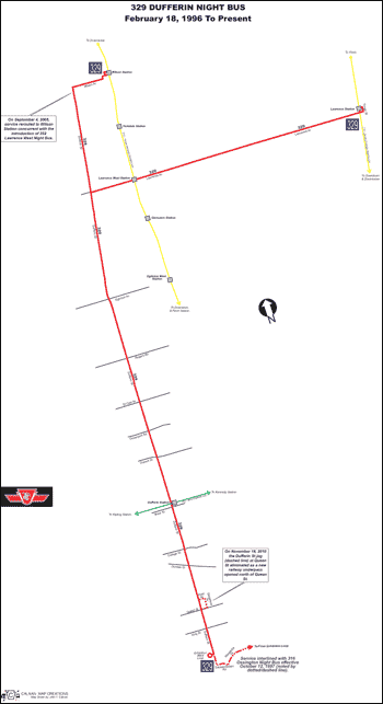 329 Dufferin Night Bus Transit Toronto Surface Route