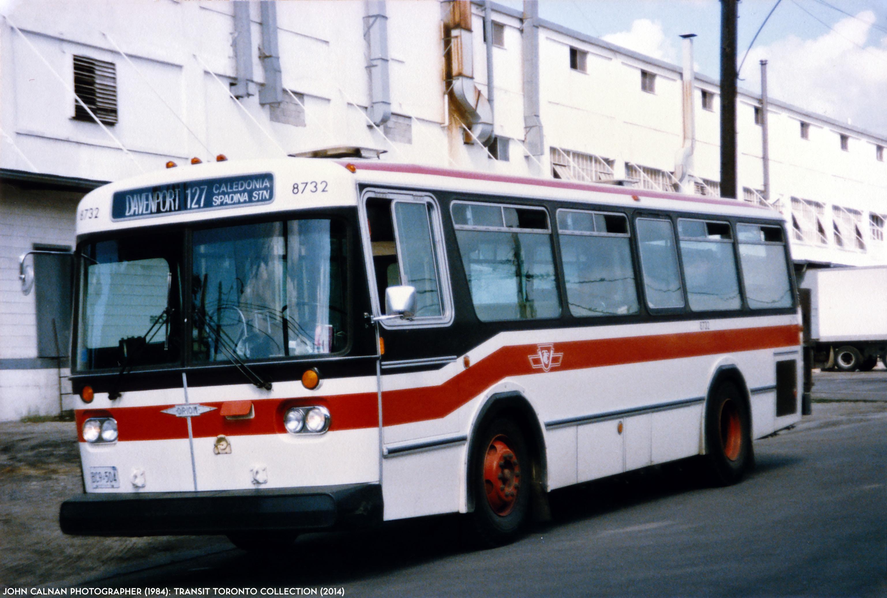 TTC Orion I bus 8732 runs west on MacPherson Avenue, near Davenport ...