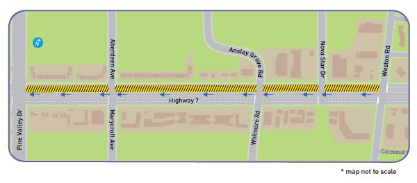 Highway 7 West rapidway - Woodbridge: Final paving, Pine ...