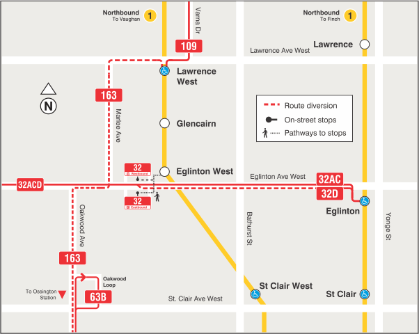 2020 - 03-29 - Cedarvale - TTC service changes during temporary  bus-terminal closure at Eglinton West Station.png