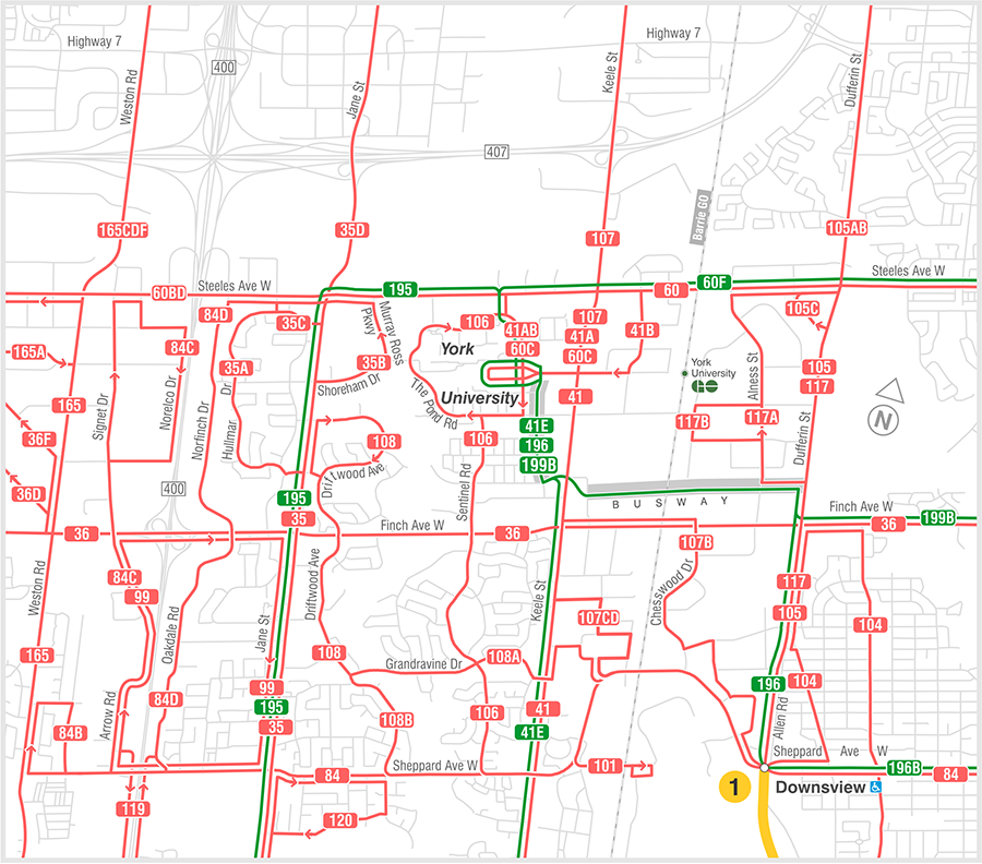 TTC - current routes near new subway.png