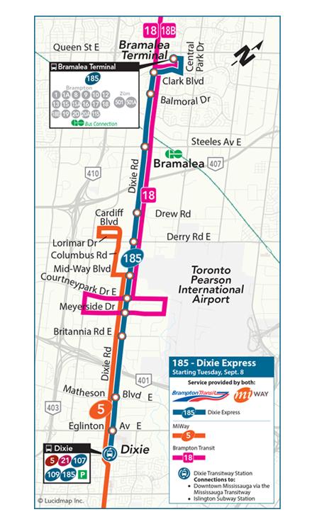 Brampton Transit MiWay Dixie express br starts September 8