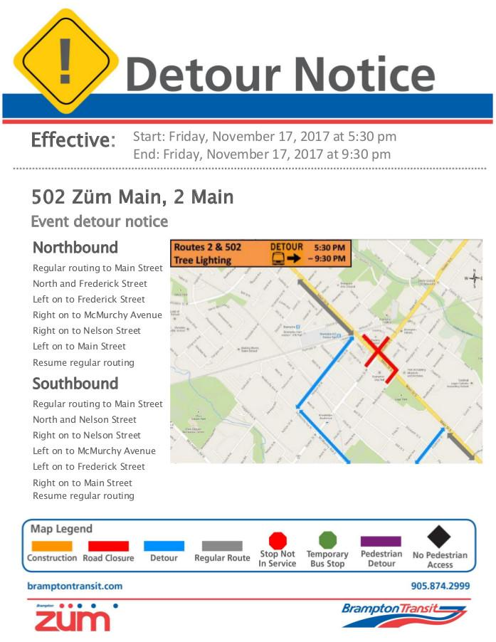 502 Züm Main, 2 Main - Tree Lighting Ceremony 2017 - Detour Notice.jpg