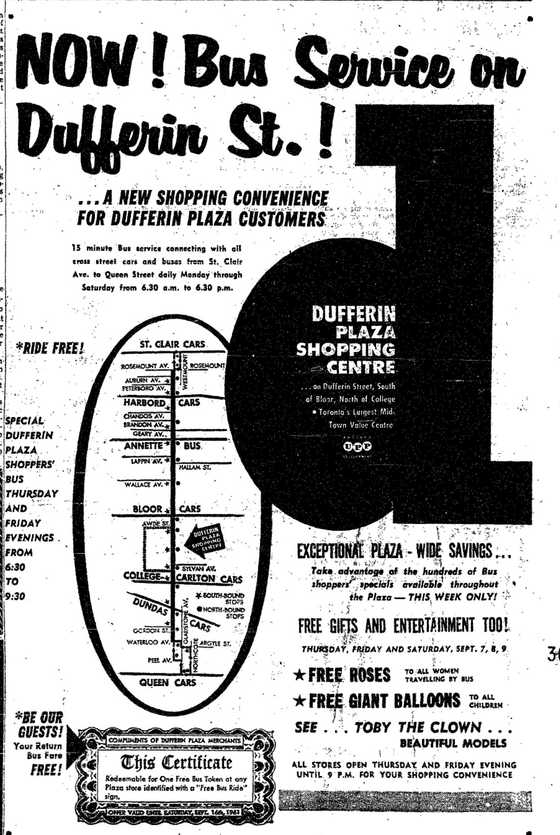 Dufferin Plaza advertisement, 1961