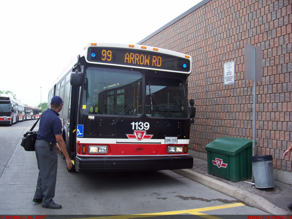 TTC Orion VII Bus 1139 Takes A Quick Break At Arrow Road Garage Before Continuing On Route 99 ARROW RD In This May 27 2007 Shot Photo By Michael W