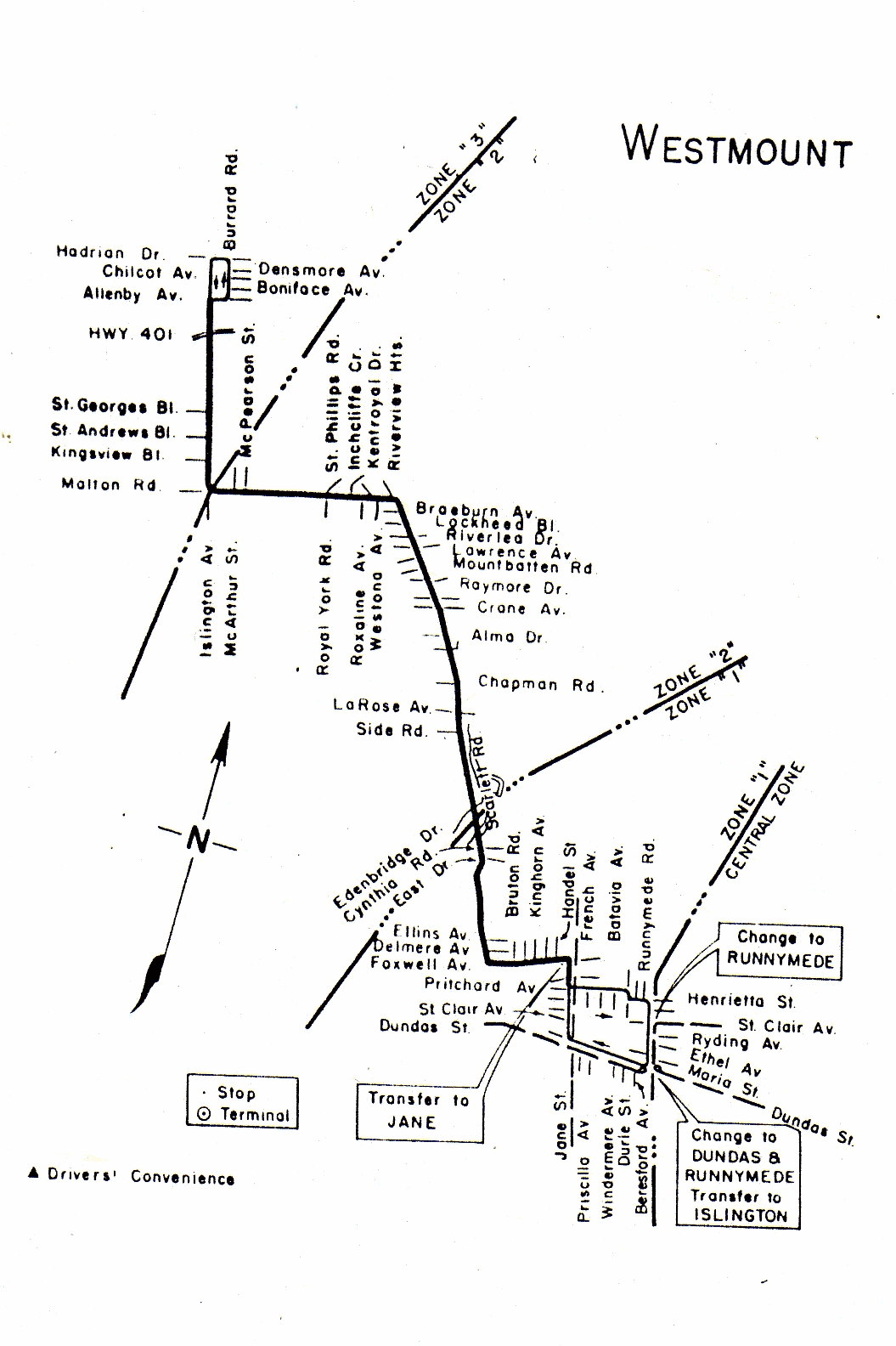 TTC Map Route 87 Westmount 1954