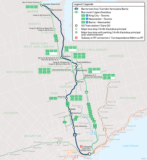 Transit Toronto Image Barrie GO Train Map 20170626