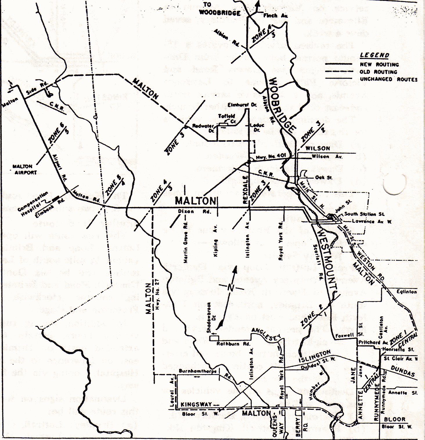 19551212 - Multiple Routes - Etobicoke Map