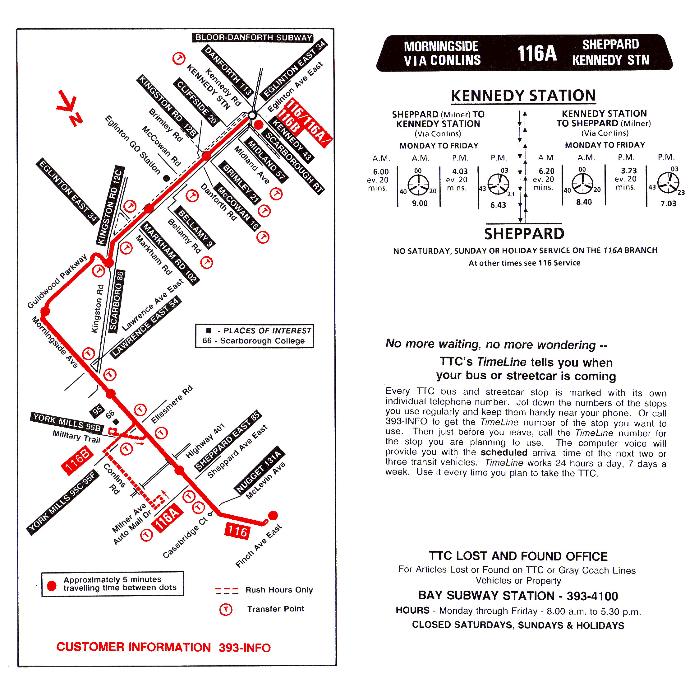 116 morningside - transit toronto - surface route histories