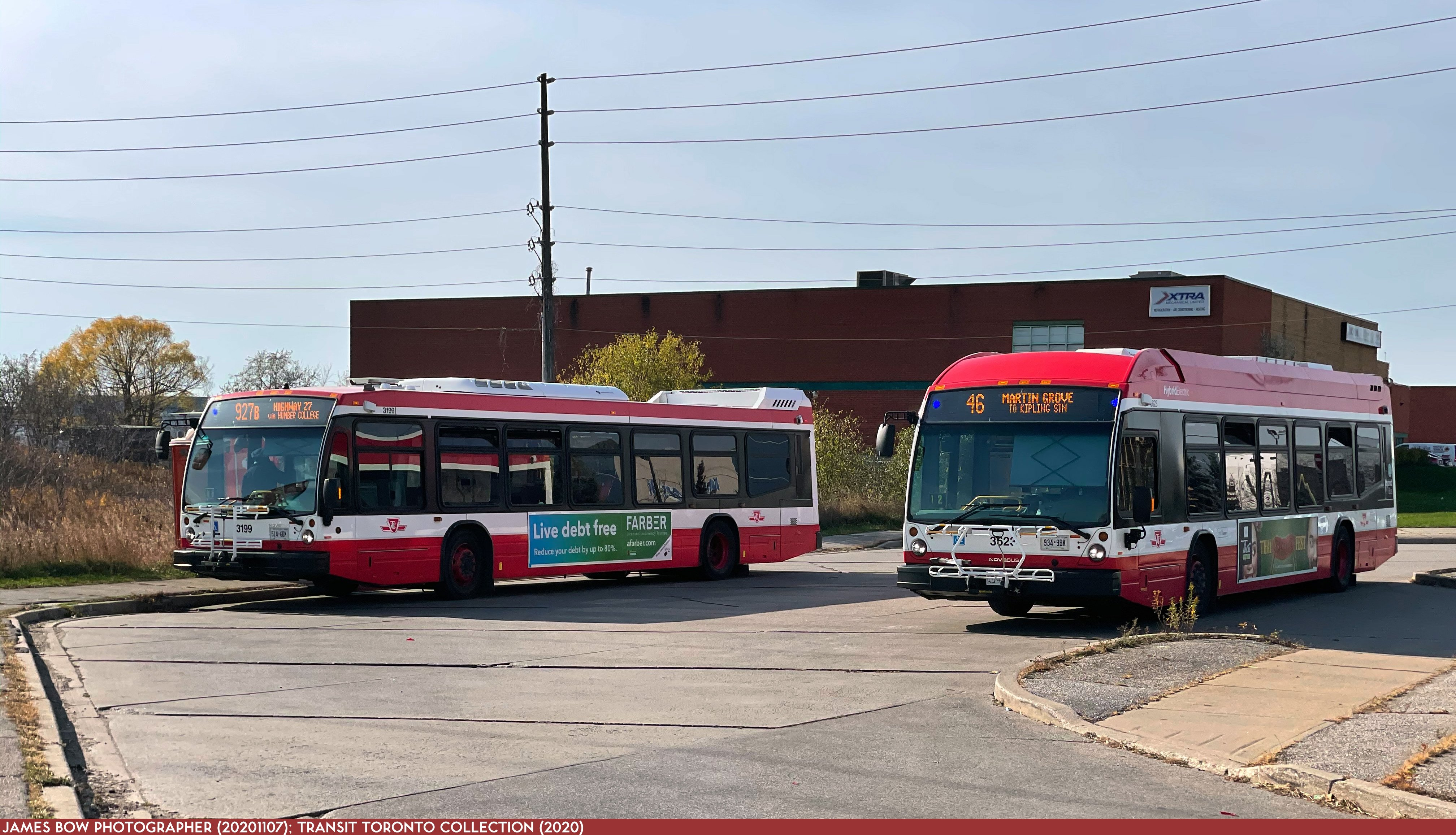 20201107 - Multiple Routes - 3199 and 3525 at Steeles/Martin Grove Loop