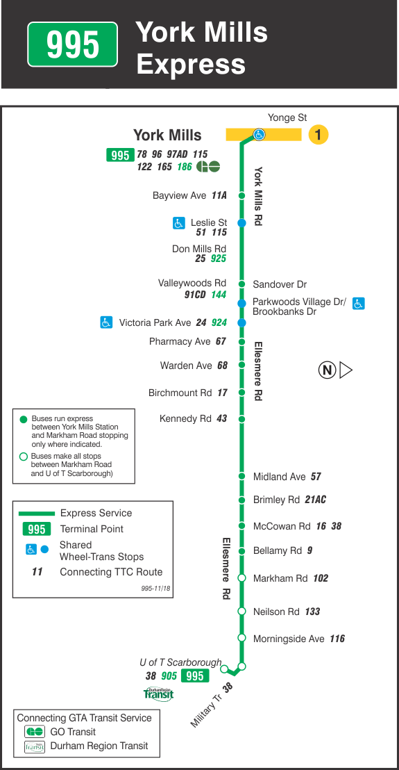 TTC 0000 995 York Mills Express 0 Current Map 20181119