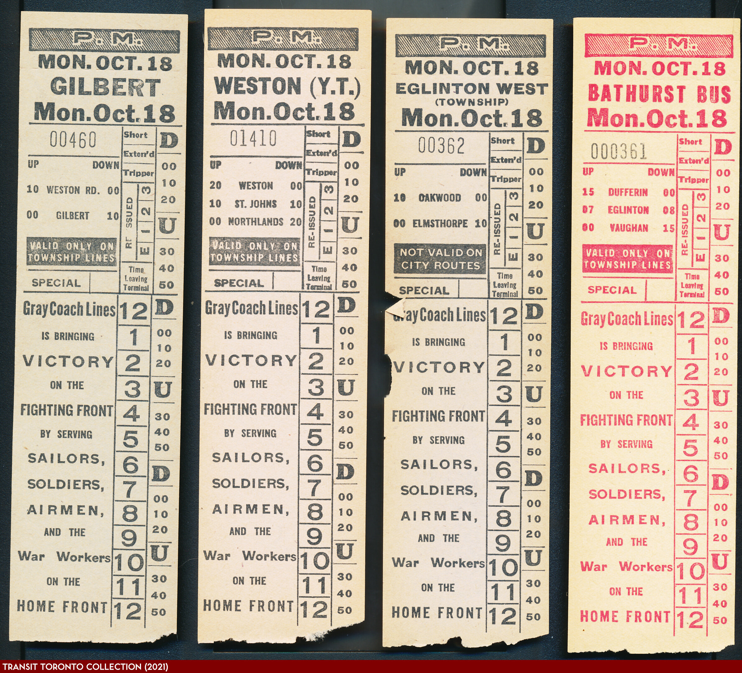 19431018 - Multiple Routes - York Township Transfers