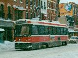 CLRV cutting through winter storm on King Street