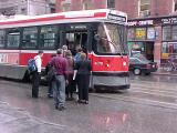 CLRV 4079 loading passengers eastbound on College at Yonge.